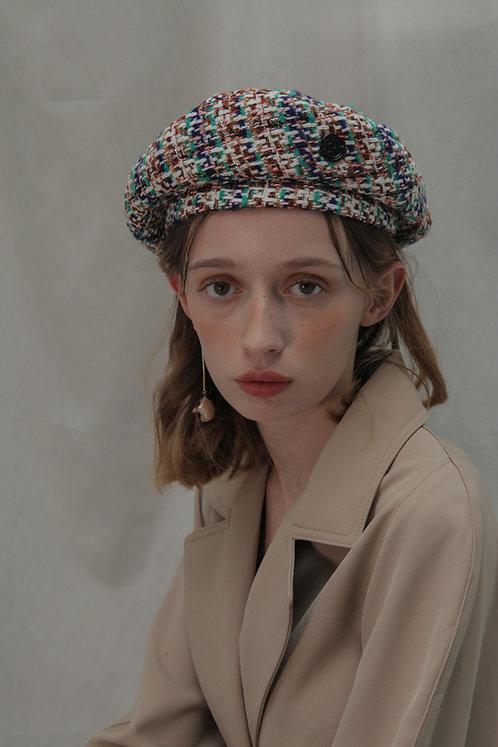 'Moonflower' tweed beret in GB