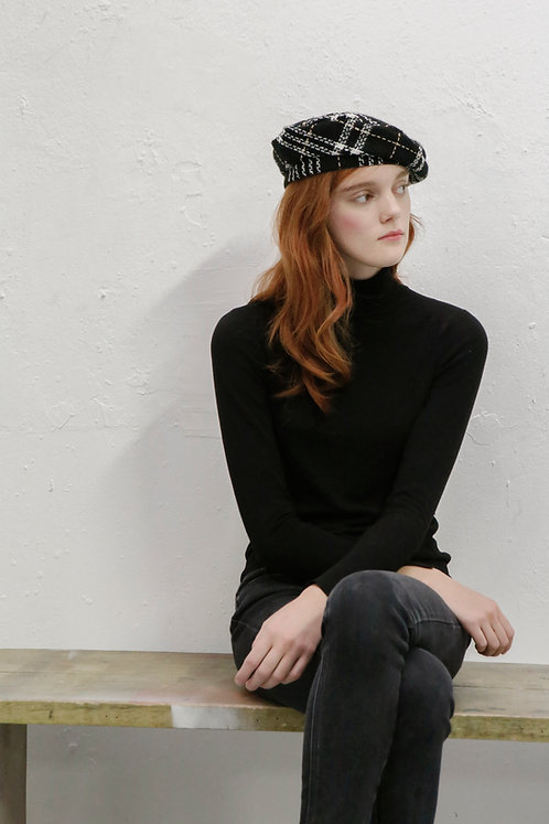 'La Rêverie' TWEED WOOL BERET - black