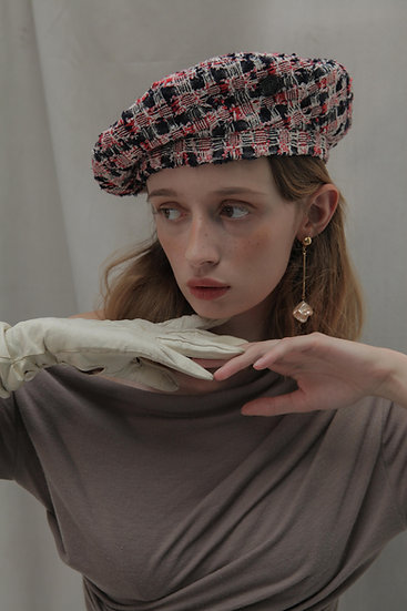'Moonflower' tweed beret in RB