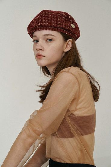 'Lumière' DÔME BERET_tweed red&gold
