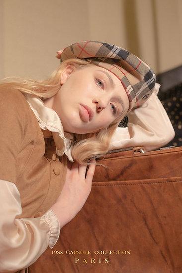 'la valse' check beret in beige