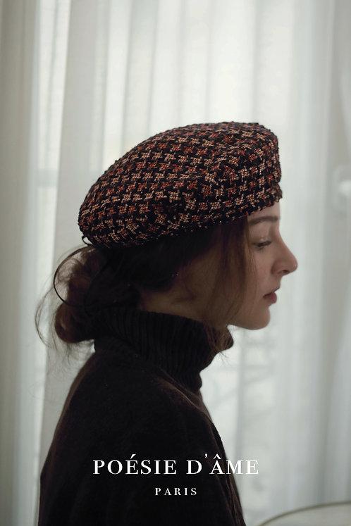 'Parfum d'hiver' tweed gold beret