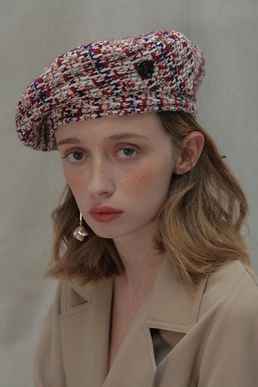 'Moonflower' tweed beret in Red