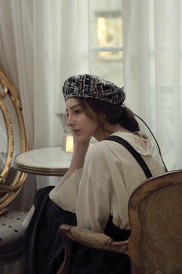'Parfum d'hiver' tweed black beret