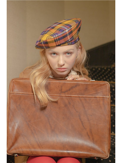 'La valse' check beret in yellow