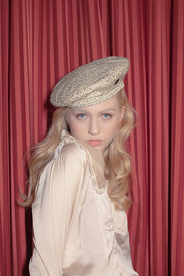'la valse' tweed beret in new gold