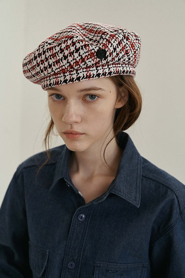 'Lumière' HOUNDSTOOTH CHECK BERET_red