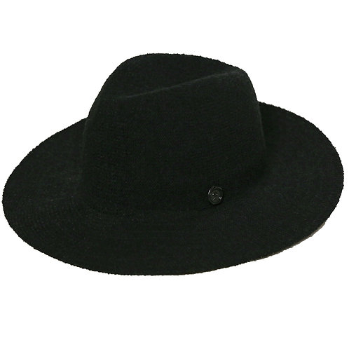 Wide Brim Pinch Panama Hat black