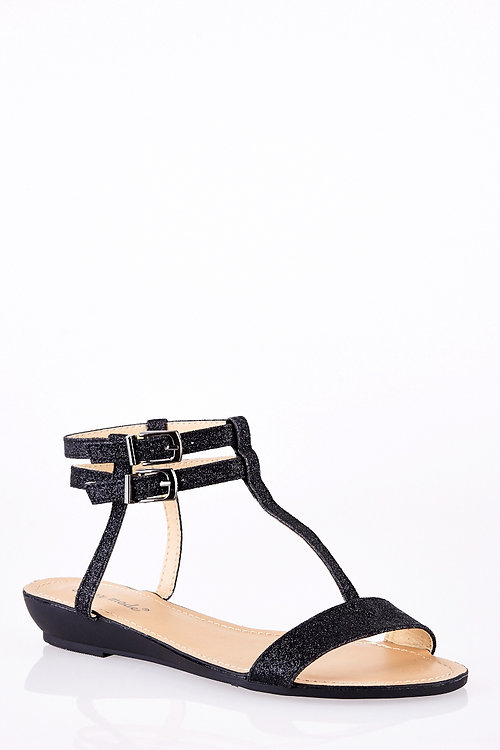 Sparkly Ankle Strap T Bar Wedge Sandals
