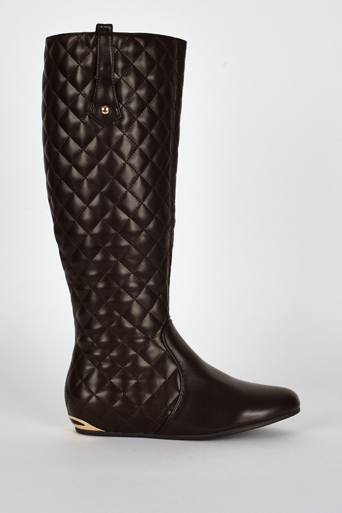Quilted Metal Heel Detail Flat Calf Boots | Online Fashion ...