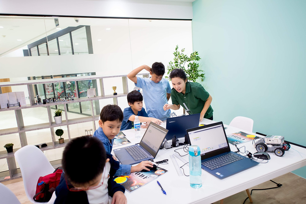 Children learning to code