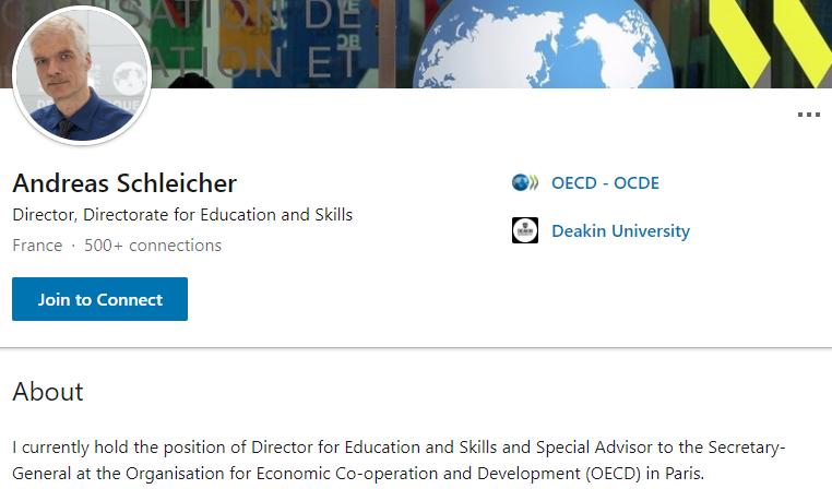 Linkedin profile of Andreas Schleicher