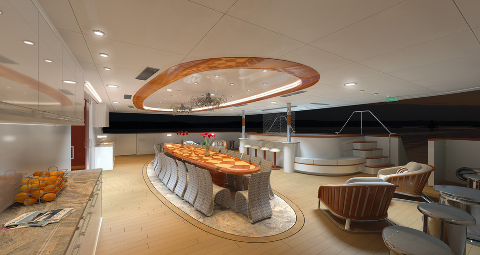MY LEGEND - Aft deck by night rendering.