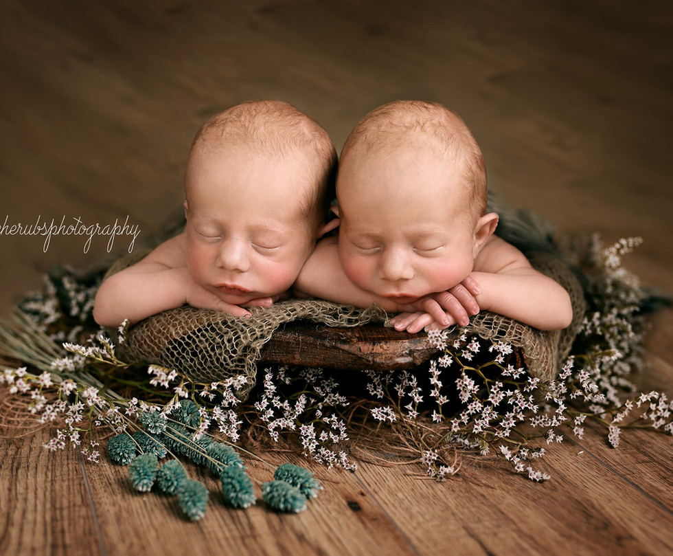 Newborn Twins posed in prop