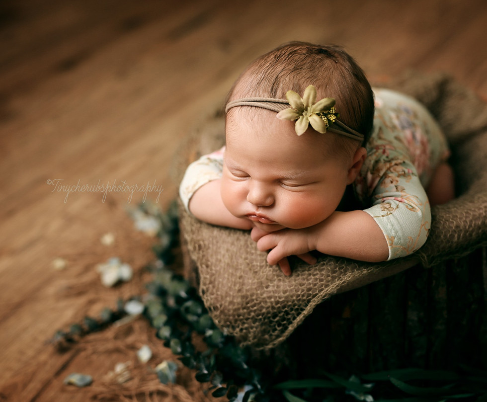 Newborn posed in prop