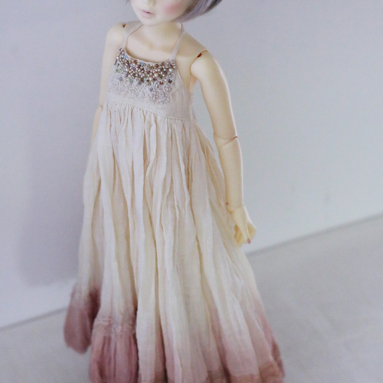 ユノアクルス少女サイズ草木染めビジューワンピース