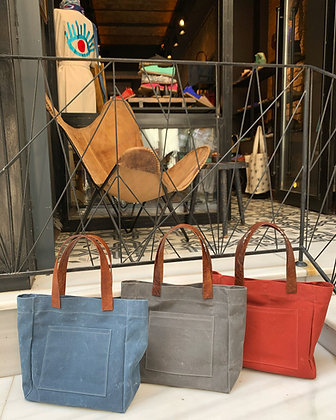 Waxed Cotton & Leather Tote (small)