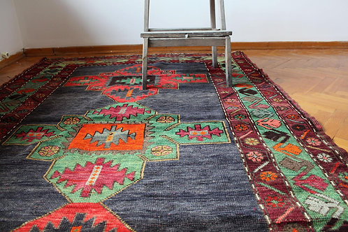 "Vintage Kazakh Kilim 7'9"" x 4'5"""