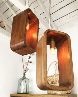 Hand-Carved Reclaimed Oak Lamps