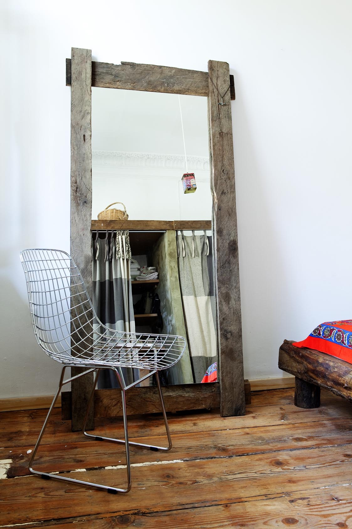 Turkish Modern Reclaimed Oak Mirror