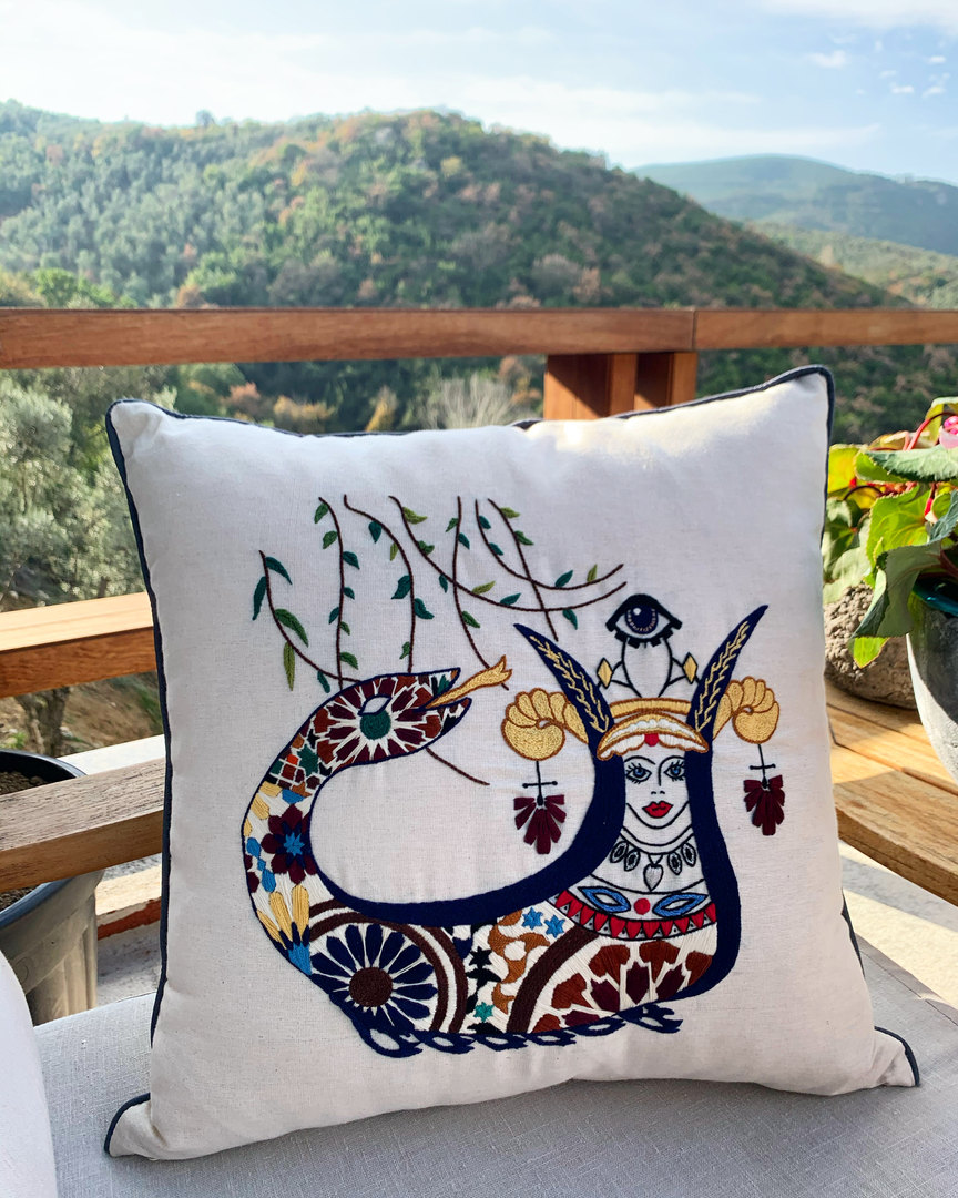 Hand Embroidered Shahmaran Pillow