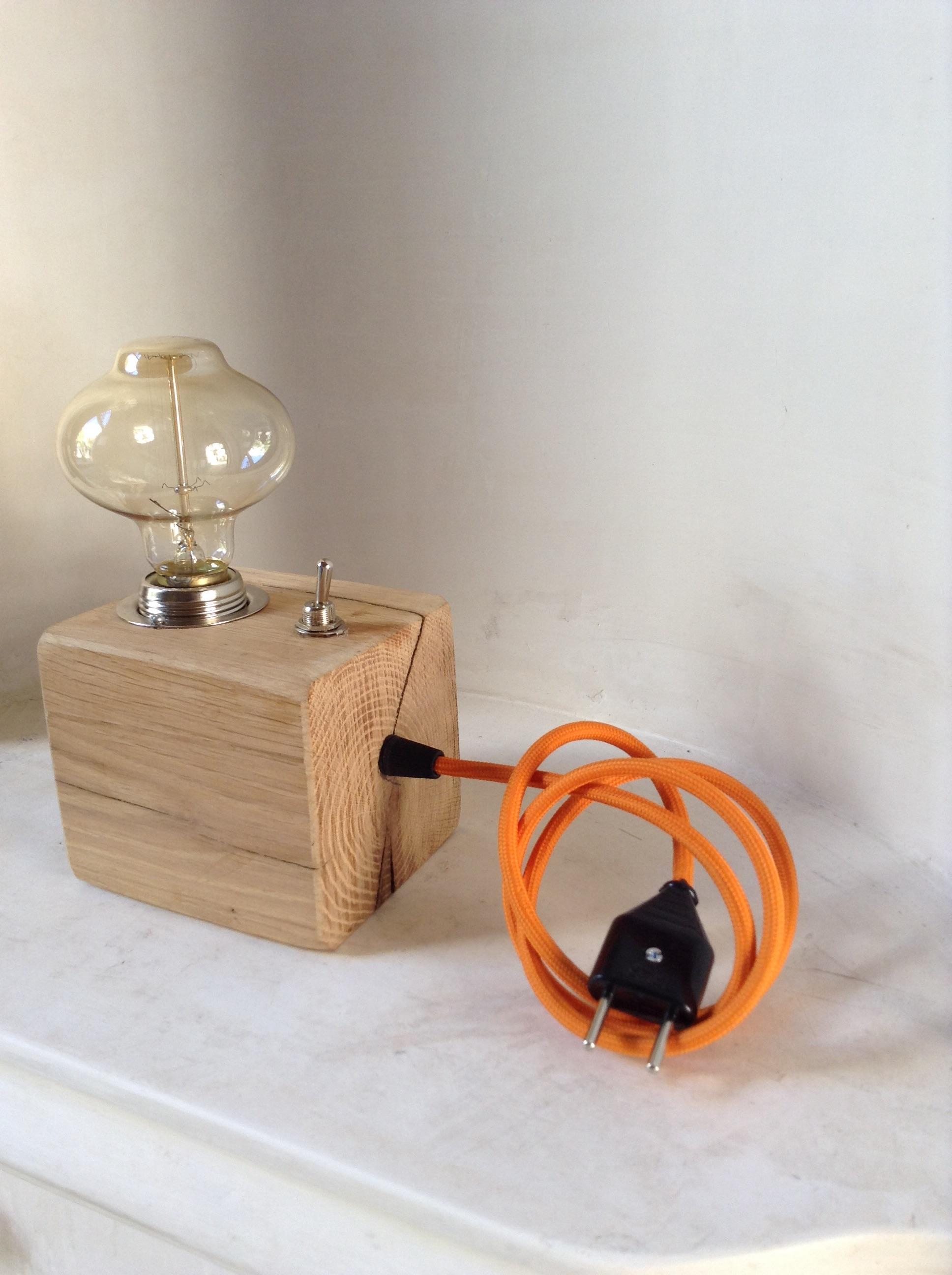 Hand-Carved Reclaimed Oak Lamp