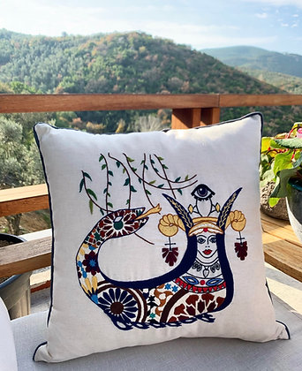 Hand Embroidered Shahmaran Pillow