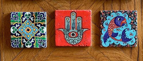 Three Handprinted Stone Tiles