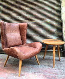 Leather and Reclaimed Oak Chair