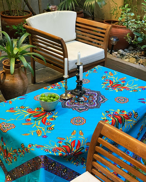 Handprinted Cotton Table Cloth