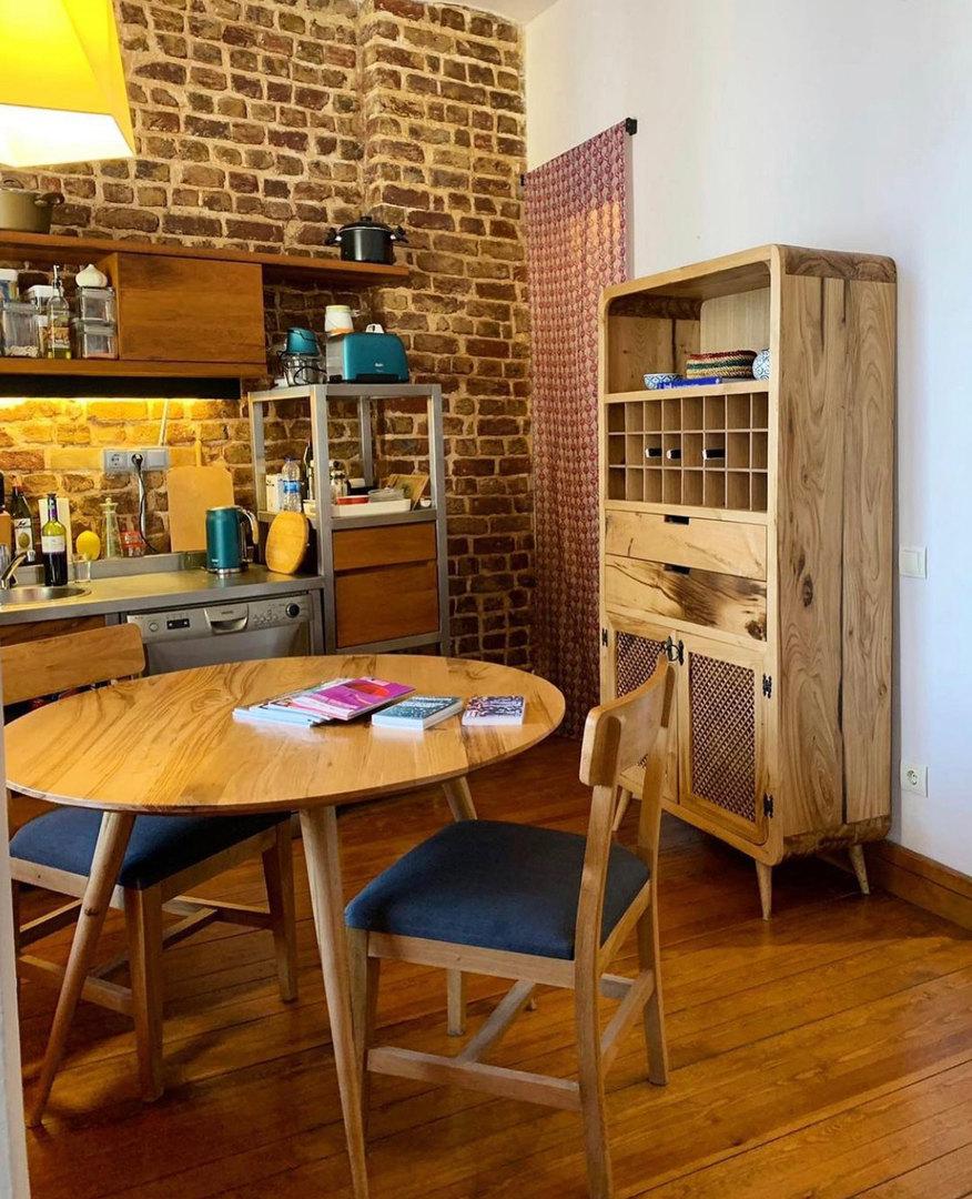 Turkish Modern Table, Chairs, and Wine Storage