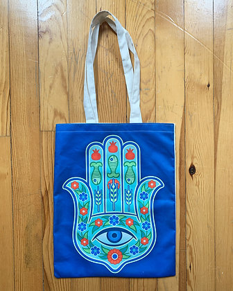 Hand of Fatima Tote (blue background)