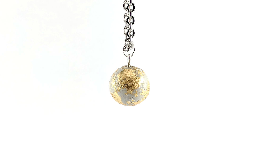 Concrete Bal Necklace with Stainless Steel Chain