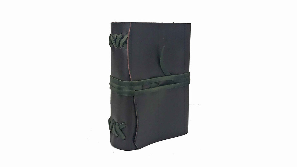 Burgundy Leather with Green accent Journal