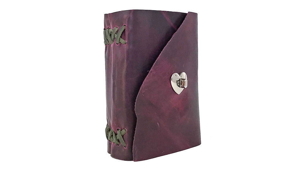 Raspberry Purple Leather with green accent Journal