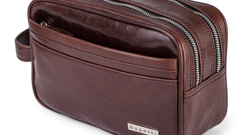 Portoi- Waxed leather toiletry Bag with quick access front pocket- Brown