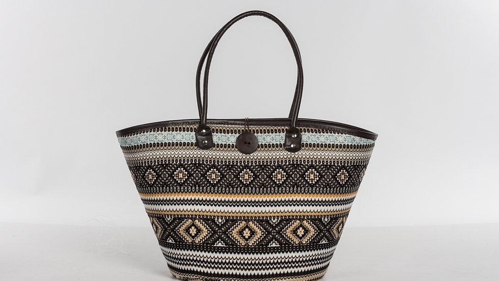 Aloha- Fabric & Straw tote bag with wooden closure- Blue combo