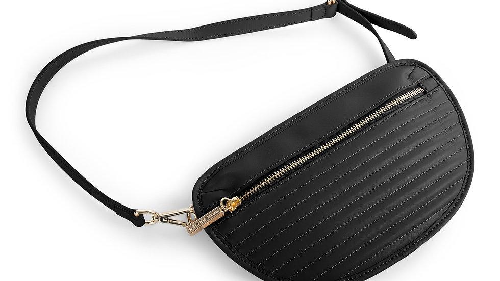 Vibrato- Leather money belt with front zipper closure