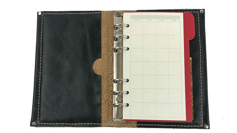 Hardcover Black Personal Planner with Nude Skull Accent