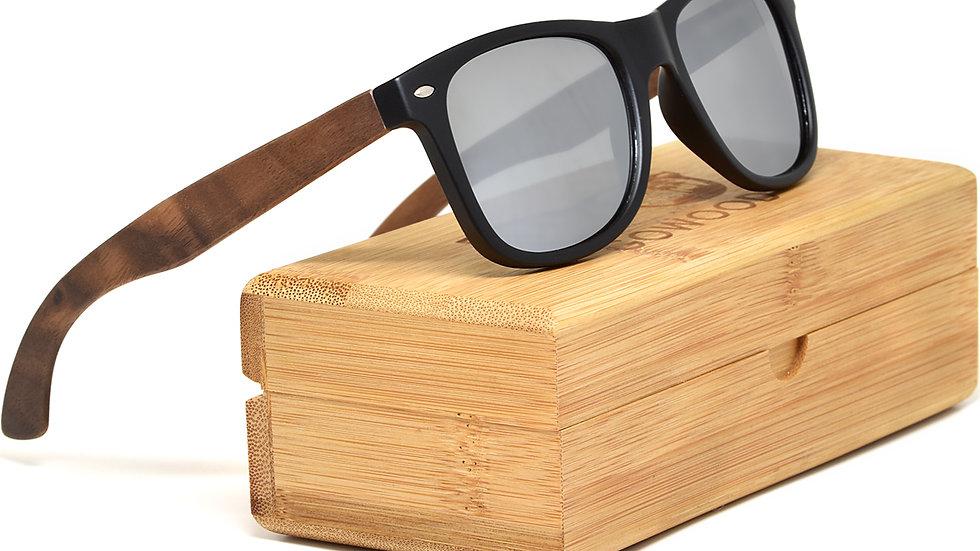 Walnut wood sunglasses with polarized lenses