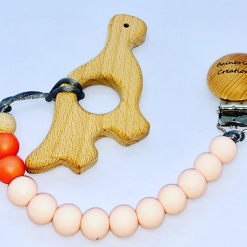 Wooden Dino Teether & Strap