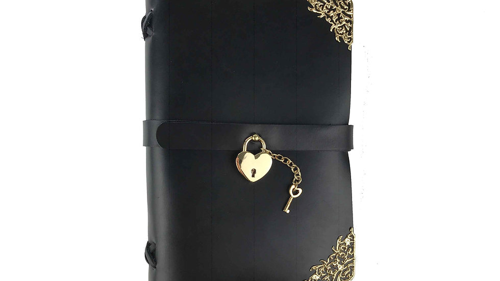 Black Leather Journal with gold accents