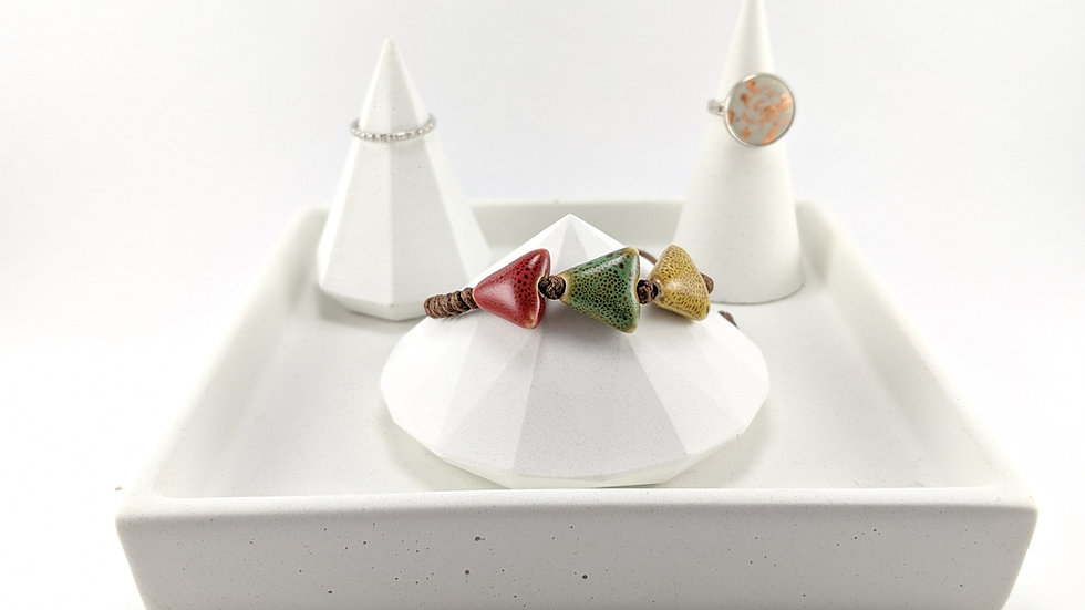 Concrete Diamond Bracelet & Ring Holder Set with Tray