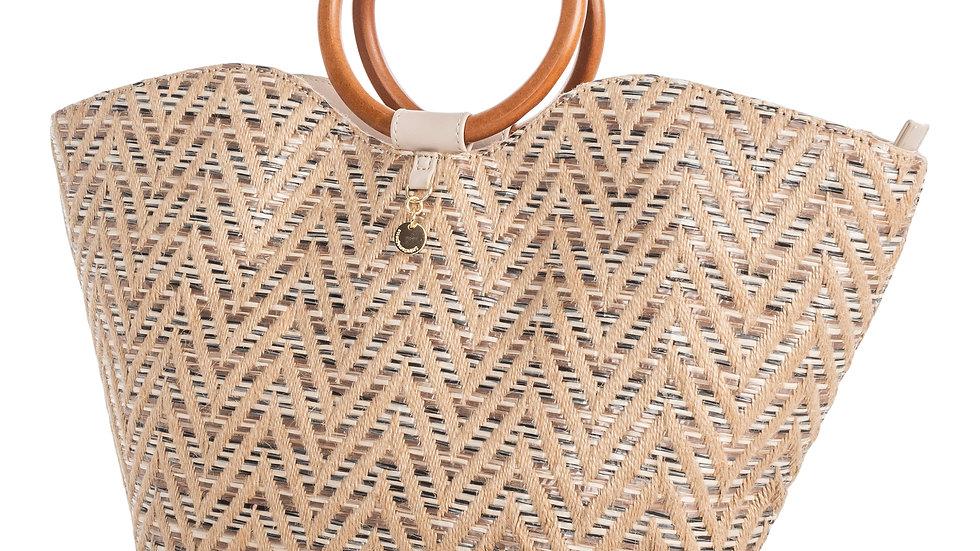 Piacevole- Handle Bag- Straw& Leather-like trim