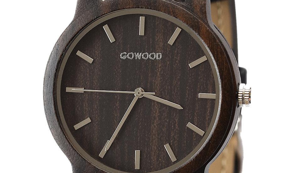 Black Sandalwood Watch with Black Cork Wristband