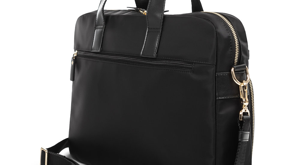 """Pure- Black slim Ladies briefcase with padded laptop section for 15.6"""""""