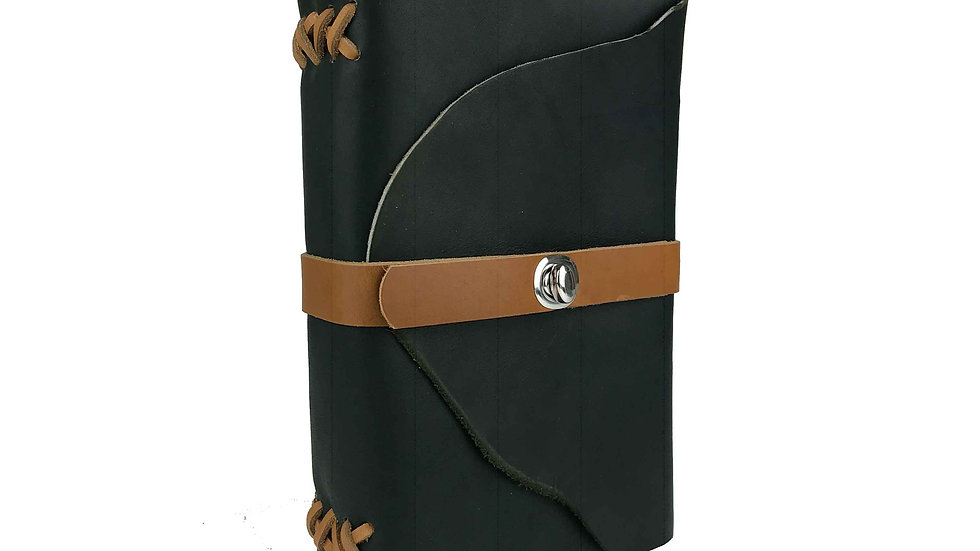 Deep Green and tan leather Journal