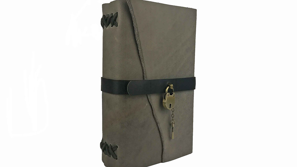 Grey Leather with dark Green Accent Journal