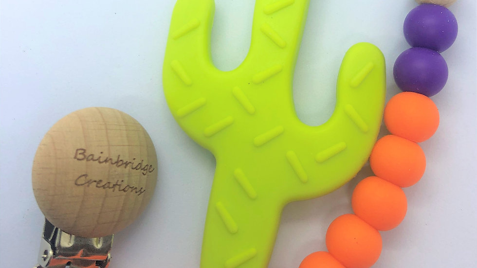 Neon Baby Teether strap and Cactus Teether