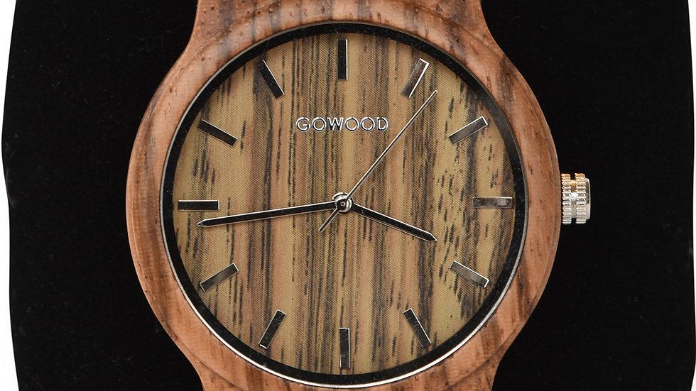 Zebra Wood Watch with Natural Cork Wristband
